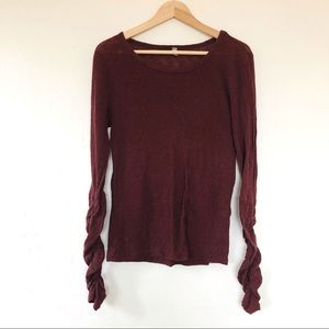 Intimately Free People Ruched Sleeve Henley Large